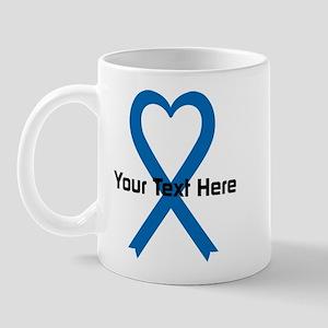 Personalized Blue Ribbon Heart Mug