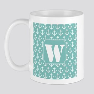 Nautical Letter W Monogram Mug