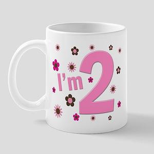 """I'm 2"" Pink & Brown Flowers Mug"