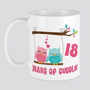 18th Anniversary Owl Couple Mug