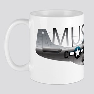 Mustang P-51 drawing on Mug
