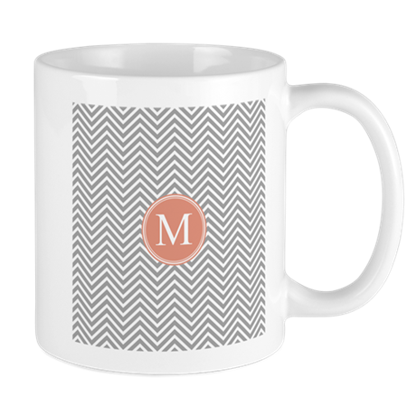 Thin Chevrons Monogram Coral Gray Mugs