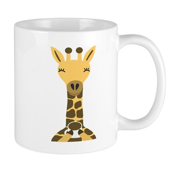 Cute Giraffe Drinking Coffee