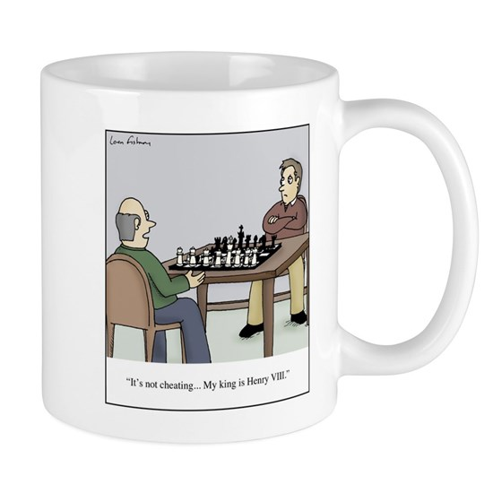 Chess with queens like Henry VIII Cartoon