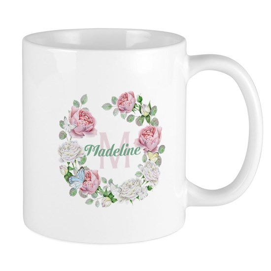 Rose Butterfly Floral Monogram