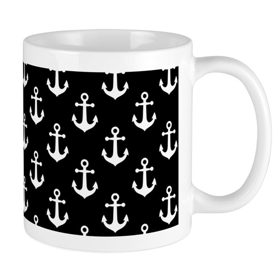 White Anchors Black Background Pattern