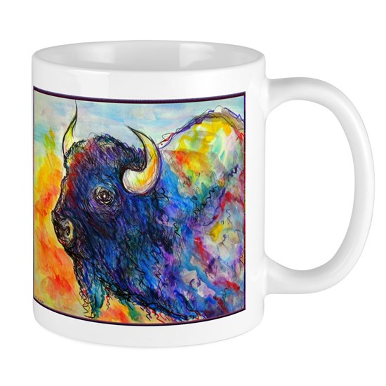 Colorful buffalo, southwest art