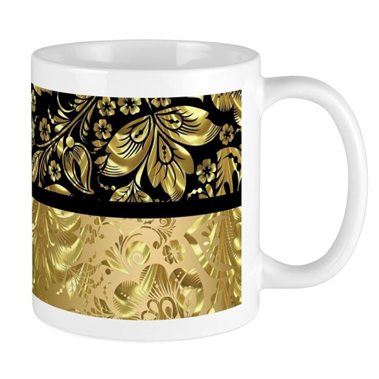 Black and shiny gold print floral damask