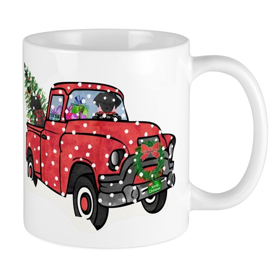 Christmas Red Truck.Black Lab Christmas Red Truck 11 Oz Ceramic Mug
