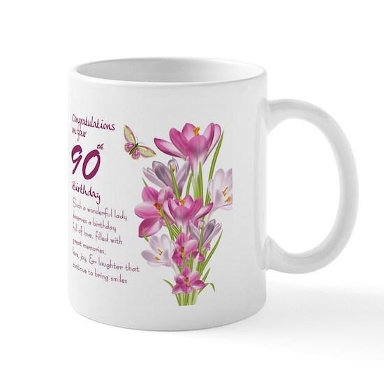 90th Birthday Butterfly And Crocus Gift Mug