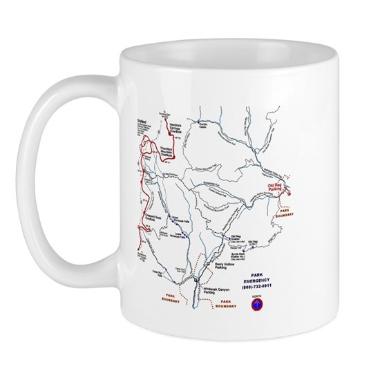 3-orbriteee 11 Oz Ceramic Mug Old Rag Mountain Trail Map