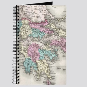 Vintage Map of Greece (1855) Journal