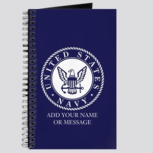 PERSONALIZED US Navy Blue White Journal
