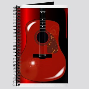 Red Acoustic Guitar Background Journal
