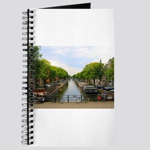 Canal, bridges, bikes, boats, Amsterdam, H Journal