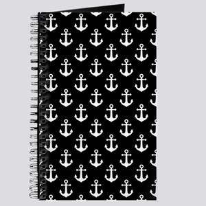 White Anchors Black Background Pattern Journal
