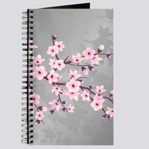 Cherry Blossoms Pink Gray Shimmering Journal