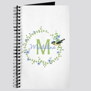 Bird Floral Wreath Monogram Journal