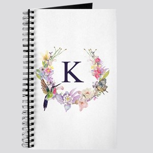 Hummingbird Floral Wreath Monogram Journal