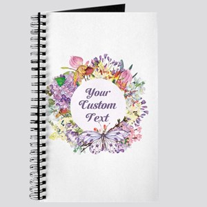 Custom Text Floral Wreath Journal