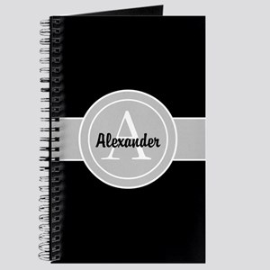 Black Gray Monogram Personalized Journal