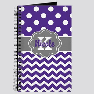 Purple Gray Dots Chevron Personalized Journal