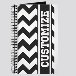Monogram Stripe Chevron Black White Journal
