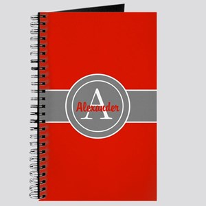 Red Gray Monogram Personalized Journal