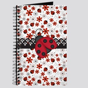 Charming Ladybugs and Red Flowers Journal
