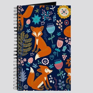 Cute Red Foxes & Colorful Retro Flowers Pa Journal