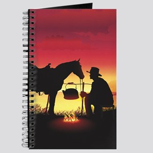 Cowboy and Horse at Sunset Journal