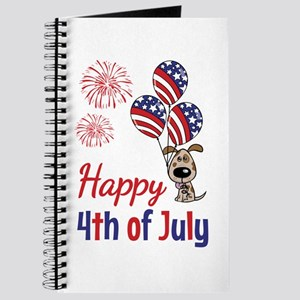 Happy 4th Doggy with Balloons Journal