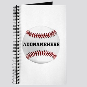Personalized Baseball Red/white Journal