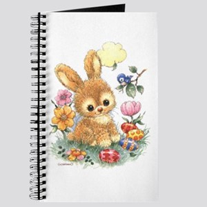Cute Easter Bunny With Flowers And Eggs Journal