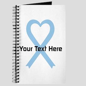 Personalized Light Blue Ribbon Heart Journal