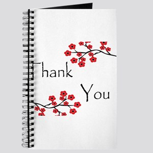 Red Cherry Blossoms Thank You Journal