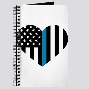 Thin Blue Line American Flag Heart Journal