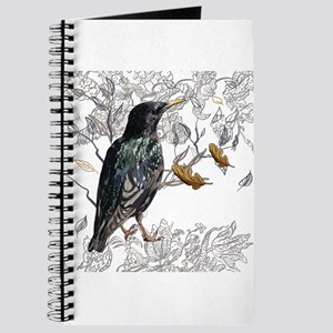 Leaves birds background set Journal