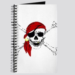 Pirate Skull and Bones, Red Bandanna Journal