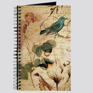 teal bird vintage roses botanical art Journal