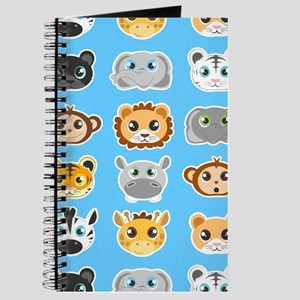 Cute Jungle Animals Pattern Blue Journal