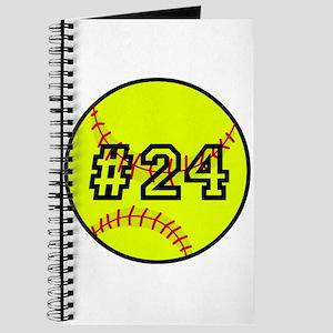 Softball with Custom Player Number Journal
