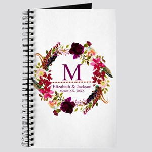 Boho Wreath Wedding Monogram Journal