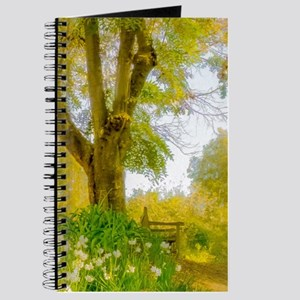 Golden Scene with Tree and Bench Journal