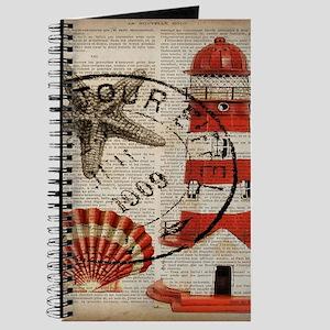 vintage lighthouse sea shells Journal