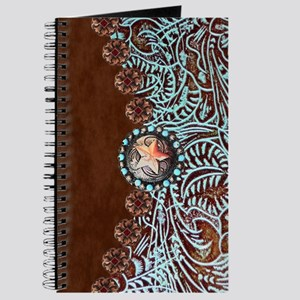 Western turquoise tooled leather Journal