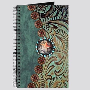 Country Western turquoise leather Journal