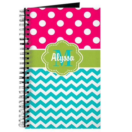 Pink Green Teal Chevron Personalized Journal