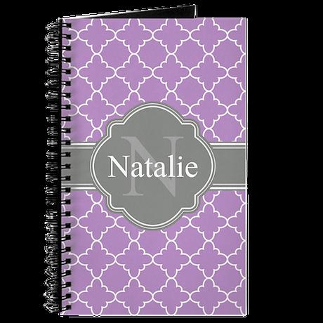 Lilac Purple Trellis Pattern Gray Monogram Journal