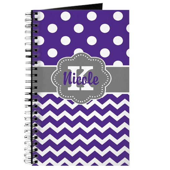 Purple Gray Dots Chevron Personalized